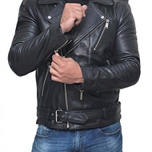 Stylish Belted Rider Leather Jacket Black
