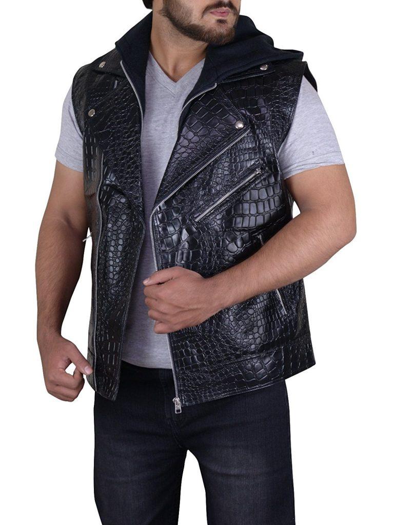 AJ Styles Hoodie Leather Vest - CelebsCostumes