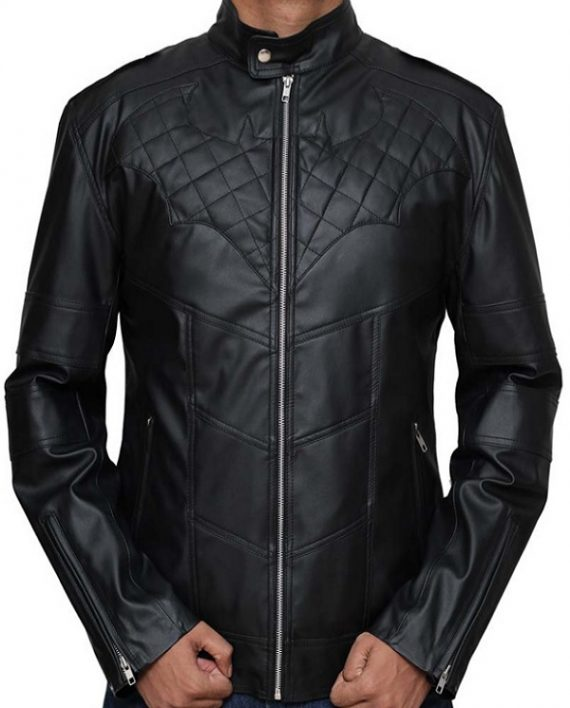 Batman Logo Knight Quilted Leather Jacket