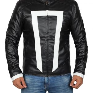 Agent Of Sheild Ghost Rider White Stripe Jacket
