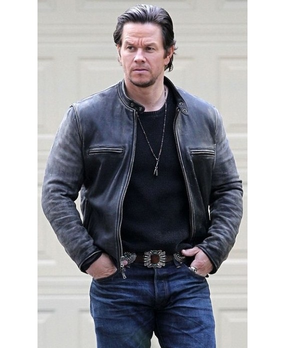 Mark Wahlberg Daddy Homes Distressed Brown Leather Jacket-4