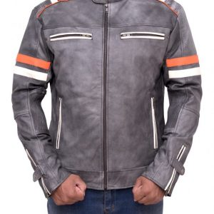 Men Biker Vintage Cafe Racer Retro Jacket