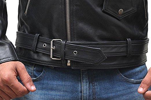 Stylish Belted Rider Leather Jacket Black