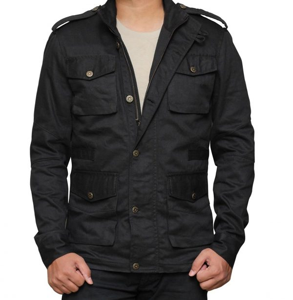 PUNISHER Button Closure Four Pockets Travel Black Cotton Jacket