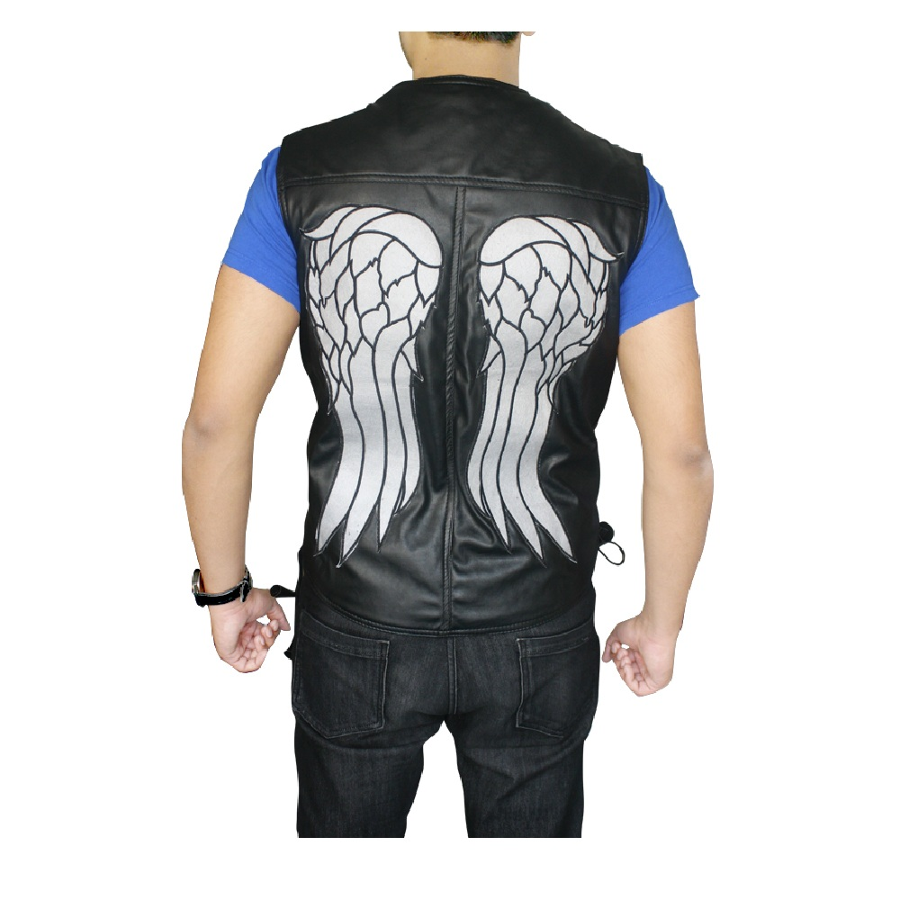 602567ac7 The Walking Dead Daryl Dixon Angel Wings Leather Vest