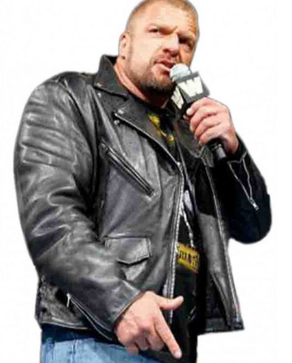 Triple H WWE Superstar Black Leather Jacket