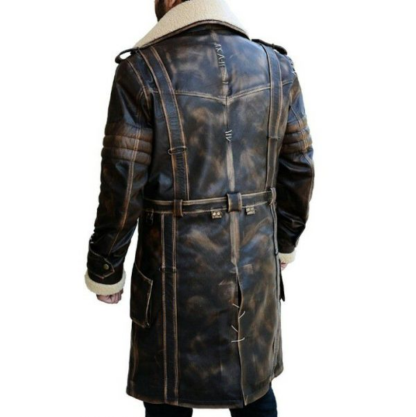 Elder Brown Fur Collar Battle Long Leather Coat