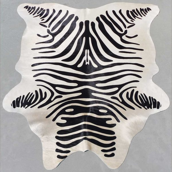 Black Striped Zebra Stenciled Cowhide Rug