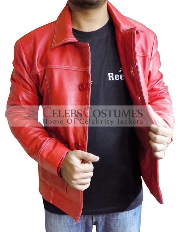 Brad Pitt Fight Club Red Leather Coat