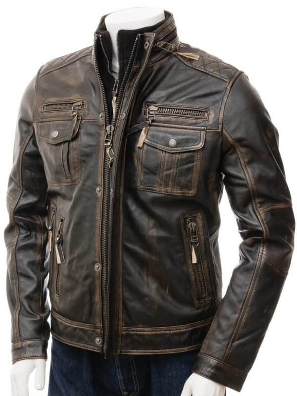 Brown Distressed Leather Motorcycle Jacket