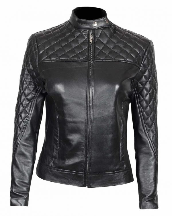 Slim Fit Quilted Leather Jacket For Women