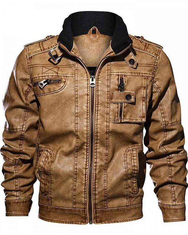 Mens Casual Long Sleeve Zip Up Distressed Faux Leather Moto Jacket