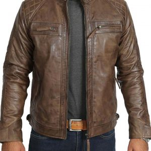 Vintage Distressed Brown Mens Leather Jacket