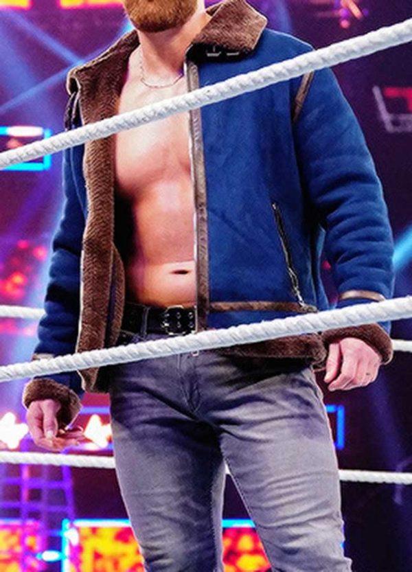 Dean Ambrose Blue Bomber Leather Jacket