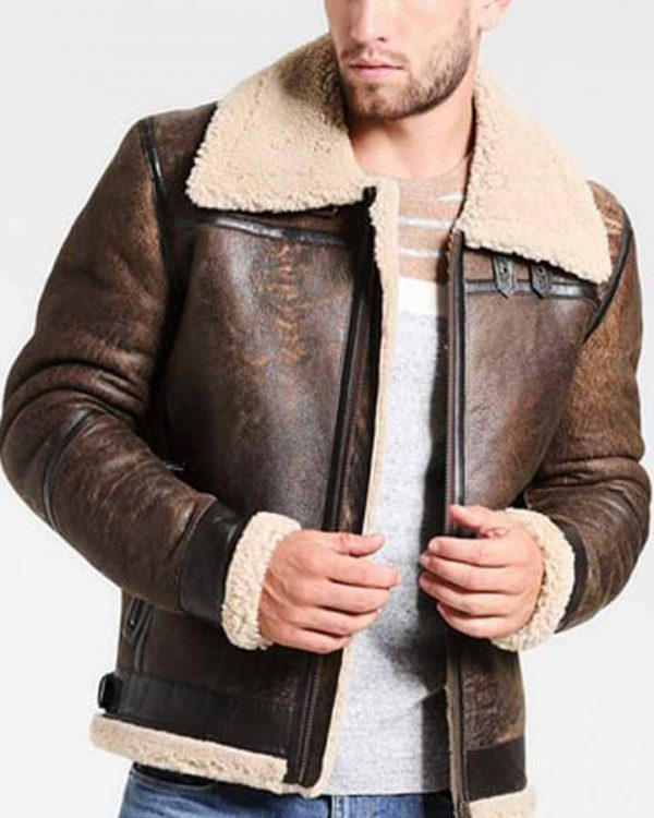 Men's Aviator Distressed Leather Shearling Jacket